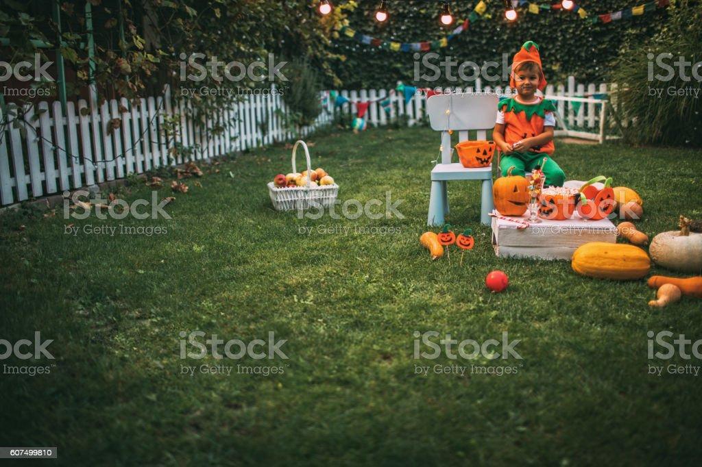 Halloween in my backyard stock photo