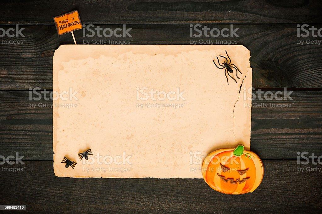 Halloween invitation over wooden background stock photo