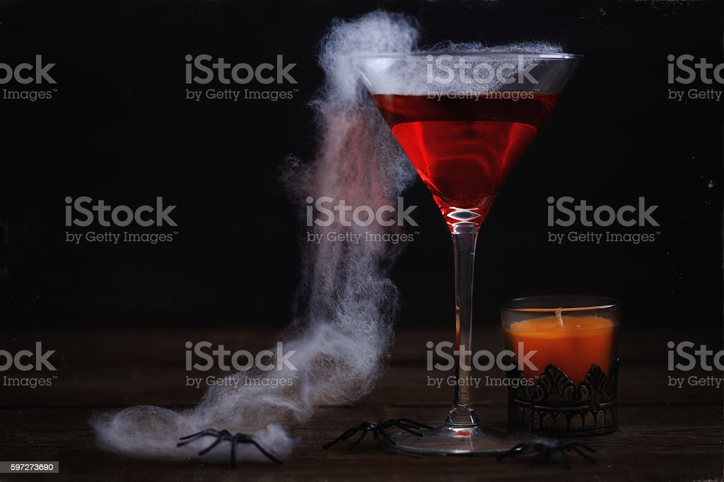Halloween items over rustic wooden background stock photo