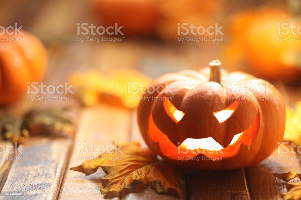 Halloween jack o' lantern background stock photo