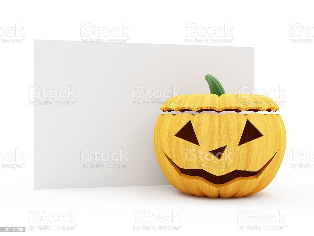 Halloween Jack O Lantern Pumpkin with Blank Board stock photo