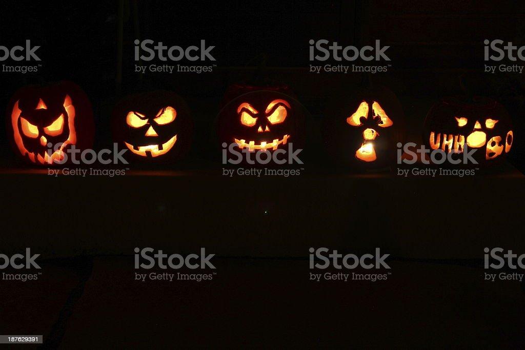 Halloween Jack O Lantern Pumpkins stock photo