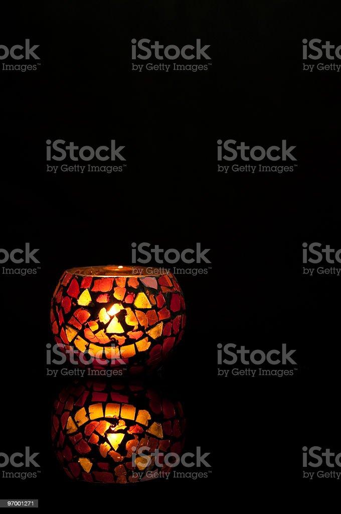 Halloween Jack-o-Lantern Candle on Black stock photo