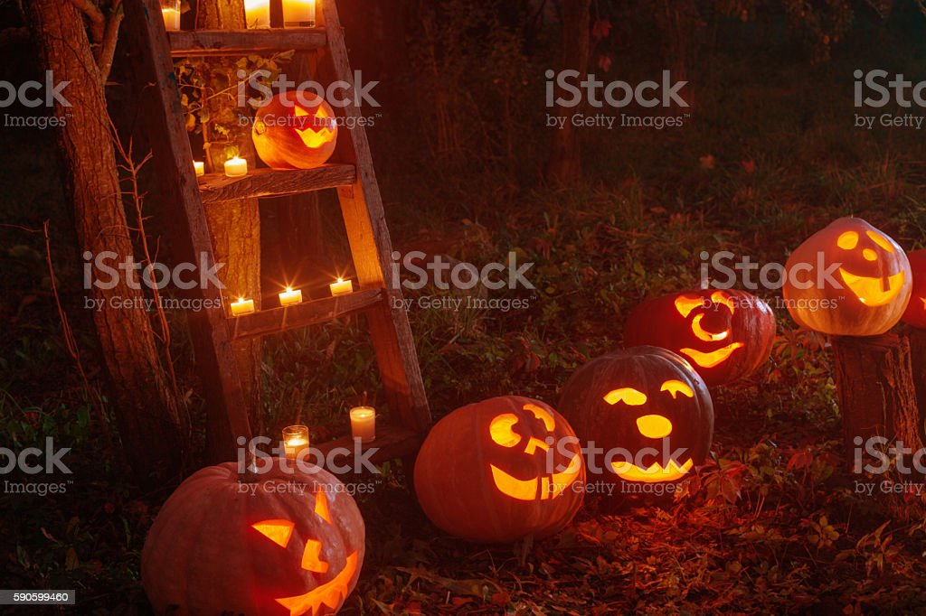 Halloween Jack-o-Lantern pumpkins outdoor stock photo