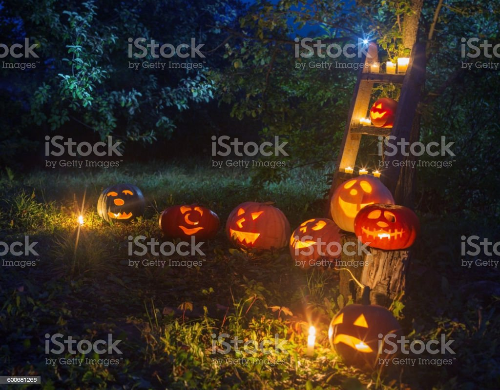 Halloween Jack-o-Lantern pumpkins outdoor stock photo