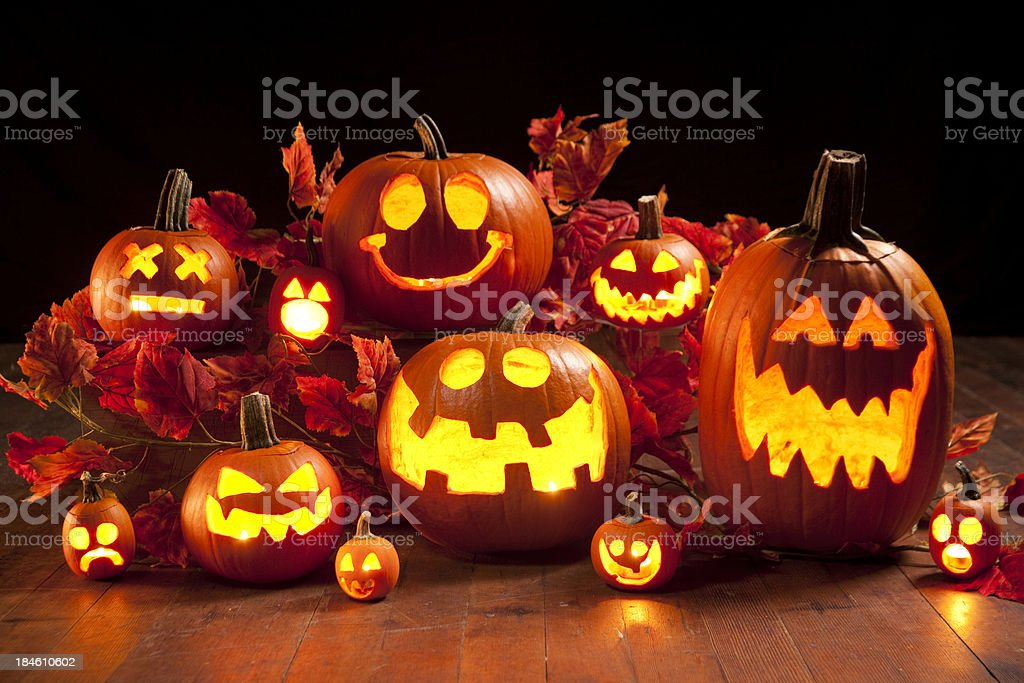 Halloween Jack-o-Lantern Pumpkins stock photo