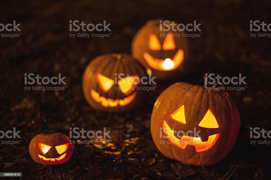 Halloween jack-o-lanterns stock photo