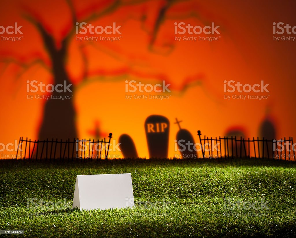 Halloween landscape with table card royalty-free stock photo