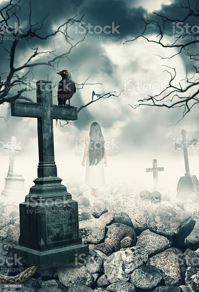 Halloween mystical spooky background with raven and cross stock photo