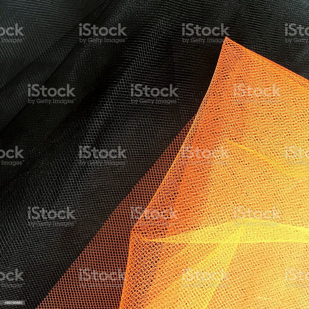 Halloween Orange and Black Tulle Fabric Decorations stock photo