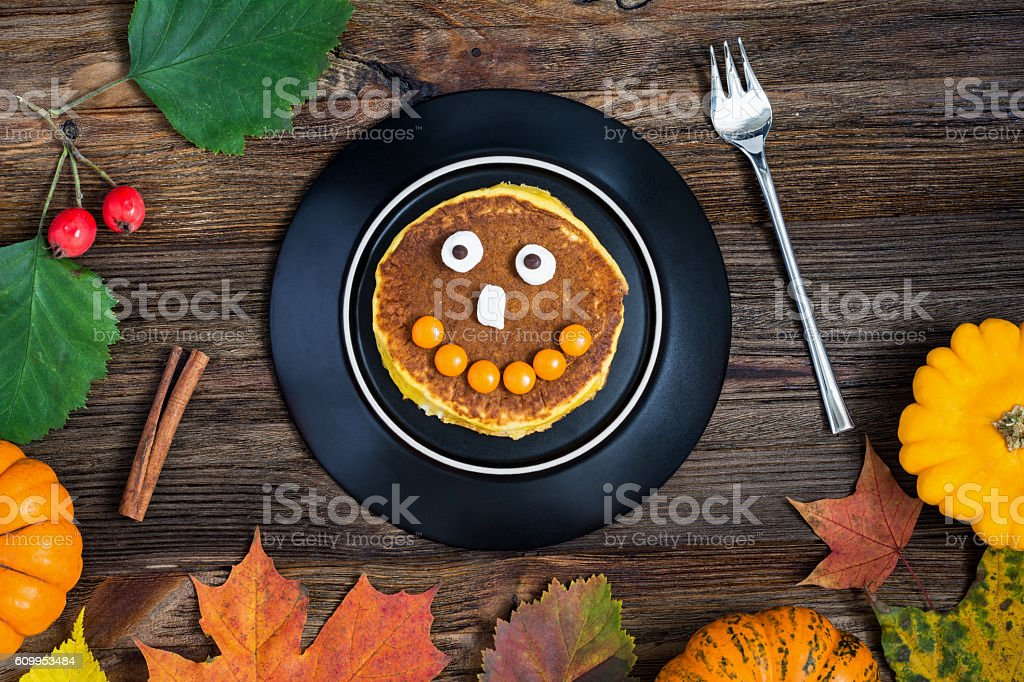 Halloween pancake for kids holiday breakfast stock photo