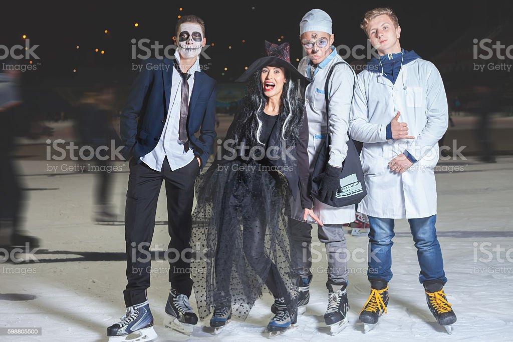 Halloween party at ice skating rink! stock photo