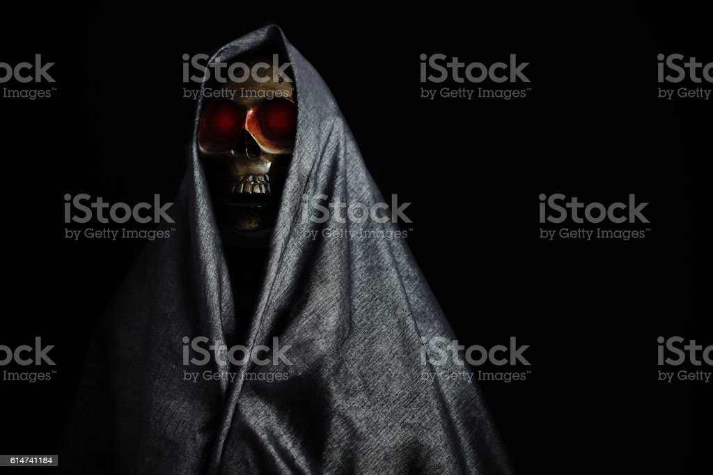 Halloween party or festival with angel of death stock photo