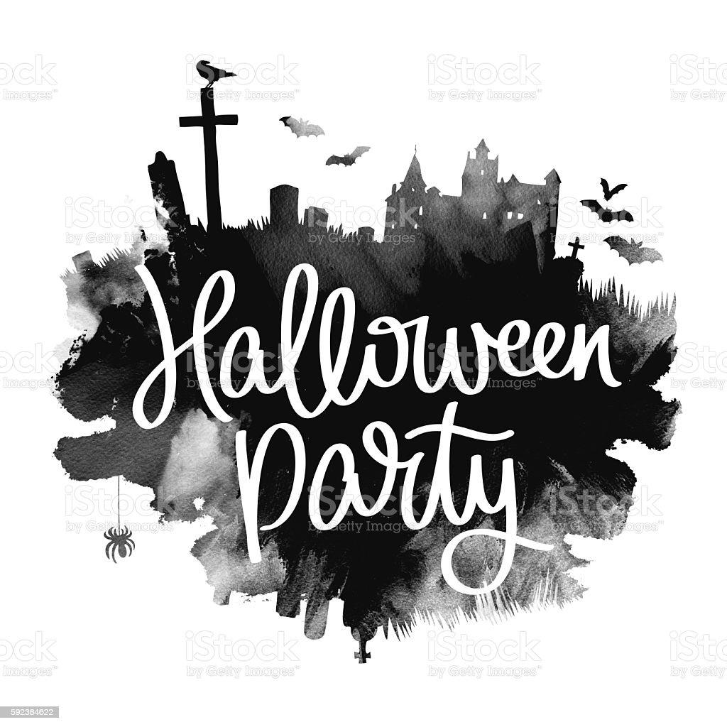 Halloween party. Trend calligraphy stock photo