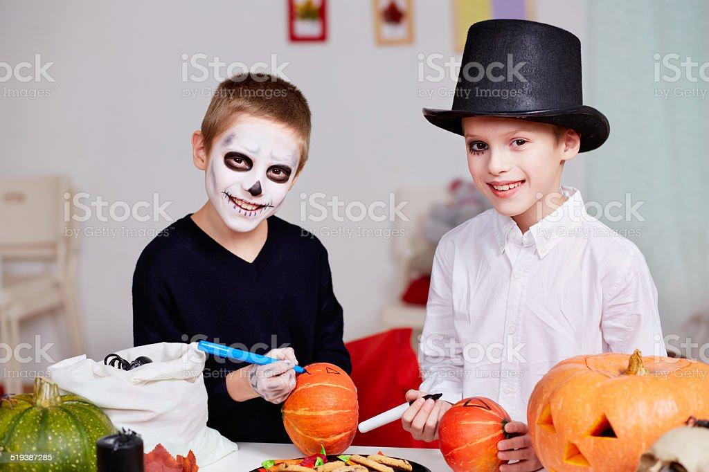 Halloween preparations stock photo