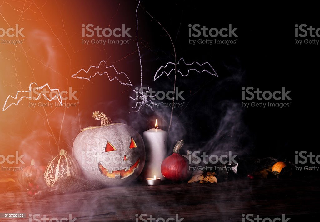 Halloween pumpkin and candles decoration royalty-free stock photo