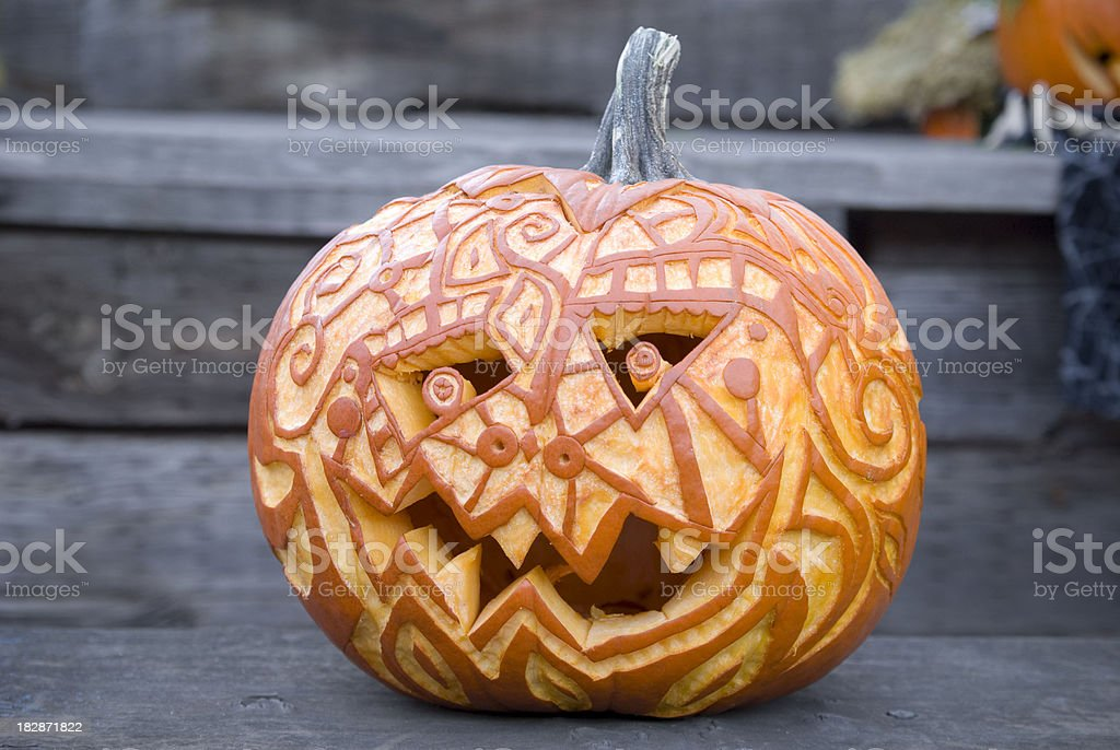 Halloween Pumpkin: Carved Jack o' Lantern Autumn Decoration & Front Porch stock photo