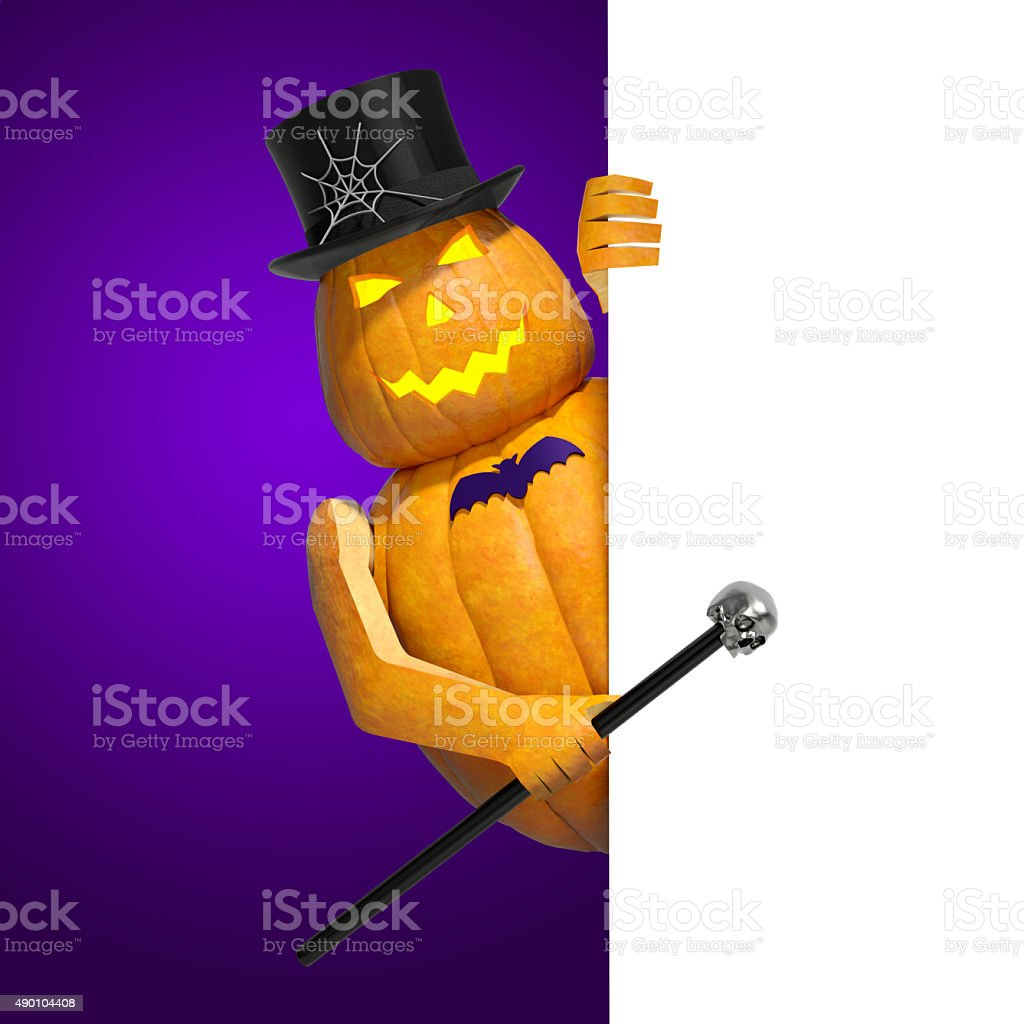 Halloween pumpkin character with white invitation blank banner stock photo