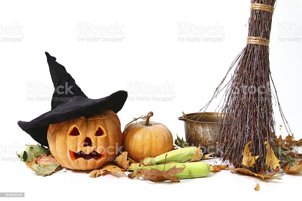 Halloween pumpkin, hat, corn, broom, leaf and pot isolated stock photo