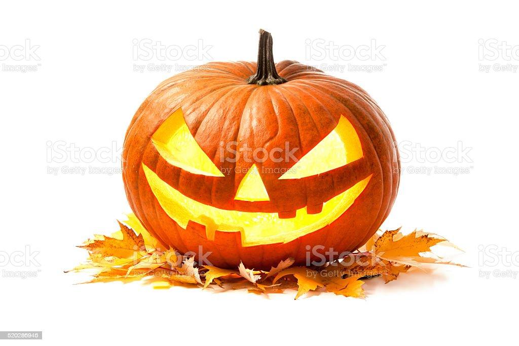 Halloween pumpkin head jack lantern stock photo