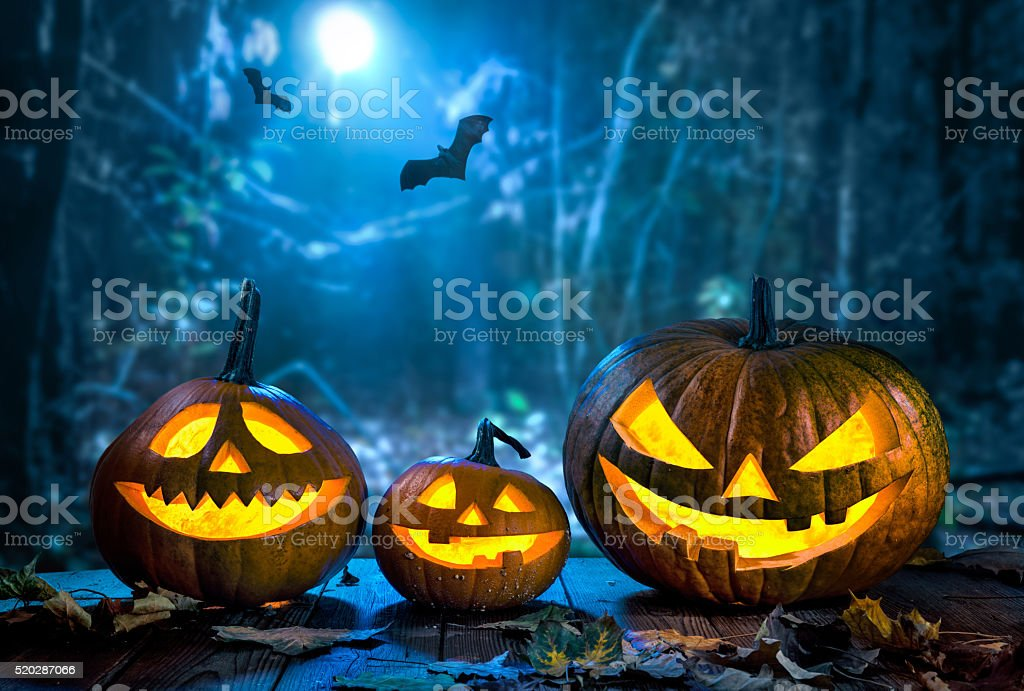 Halloween pumpkin head jack lantern stock photo