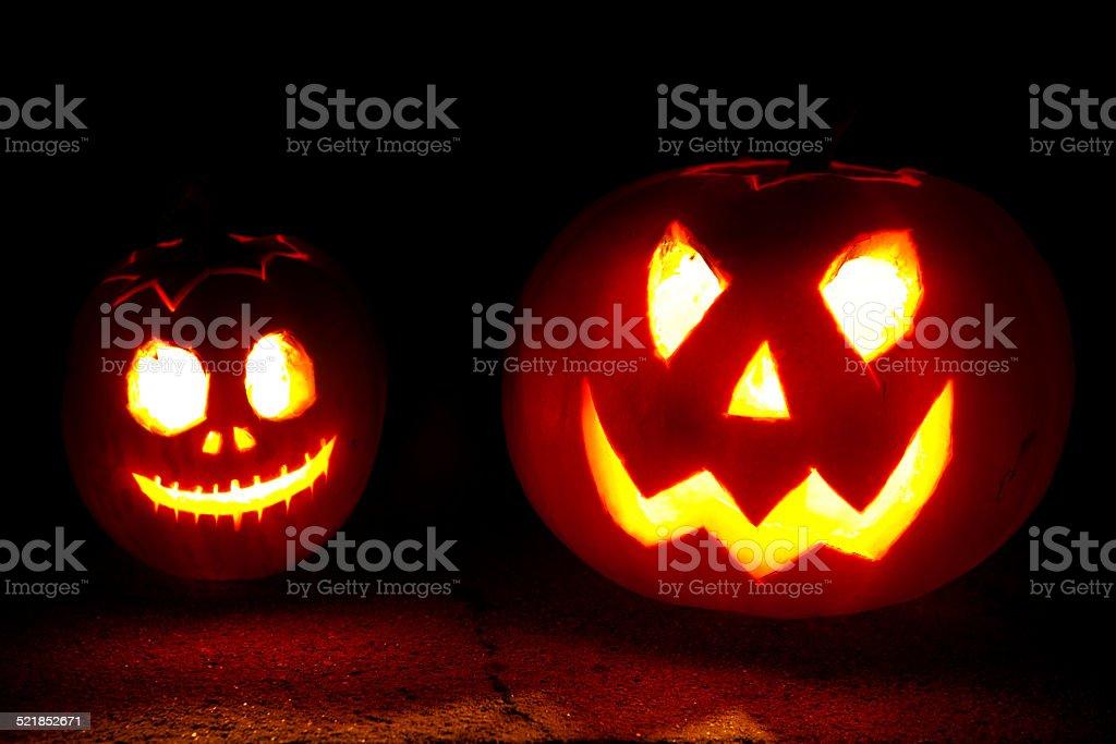 Halloween pumpkin heads stock photo