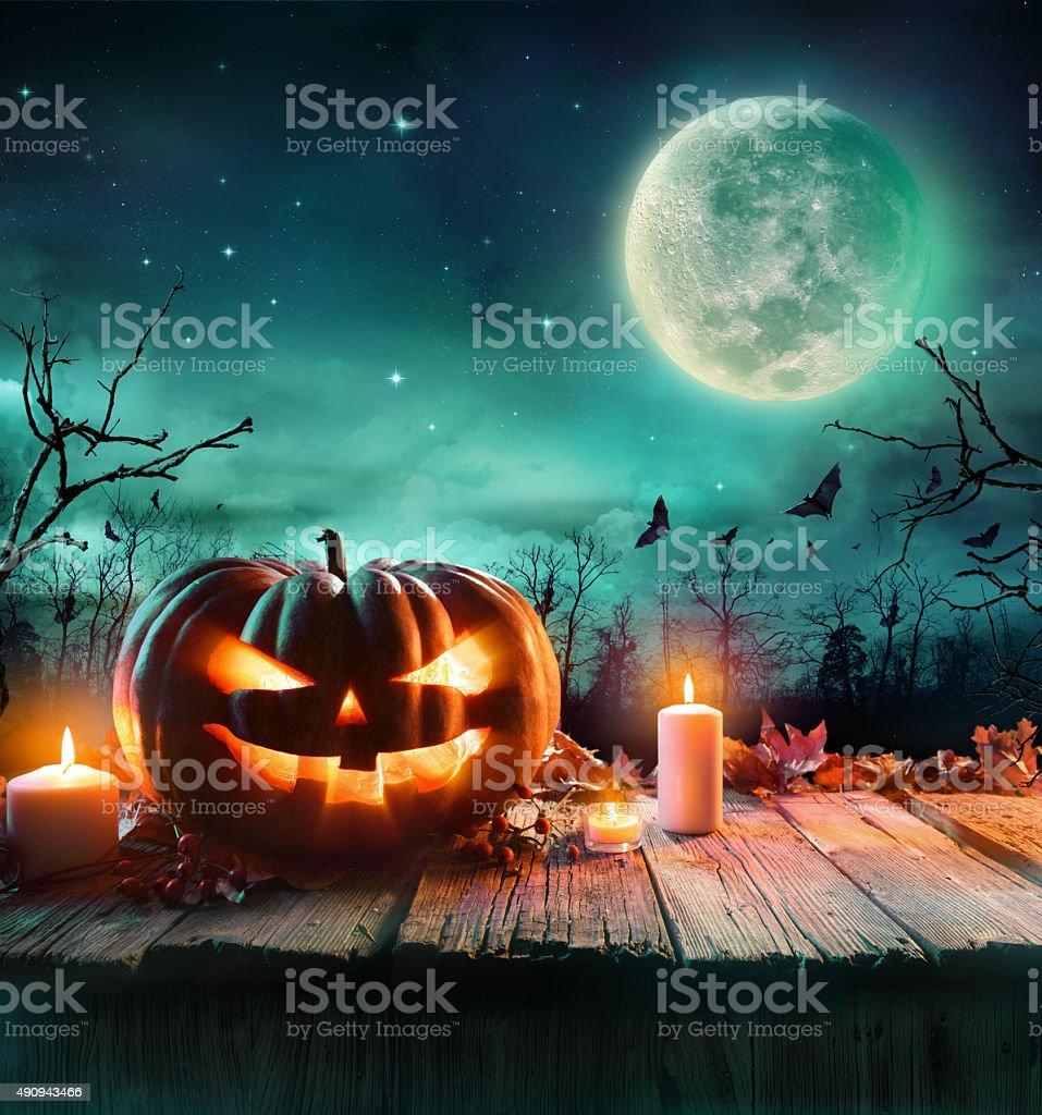 Halloween Pumpkin In A Scenic Night stock photo