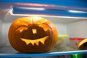 halloween pumpkin in the fridge