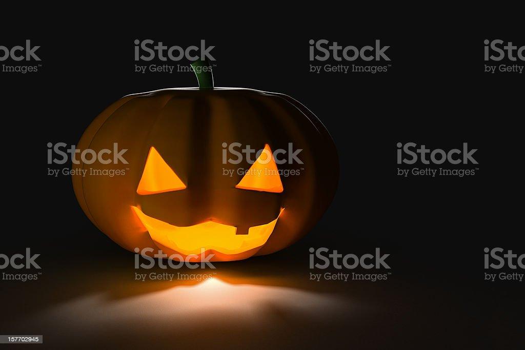Halloween Pumpkin, on Black/Dark Background, High View (XXXL) stock photo