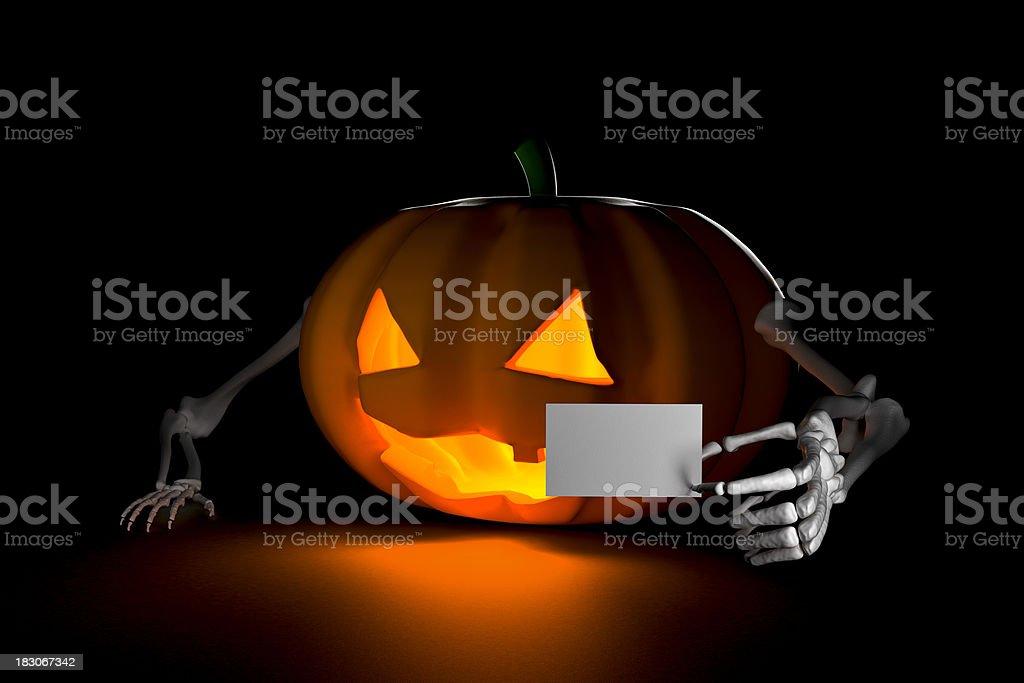 Halloween Pumpkin on Dark Background, with a White Ticket (XXXL) stock photo