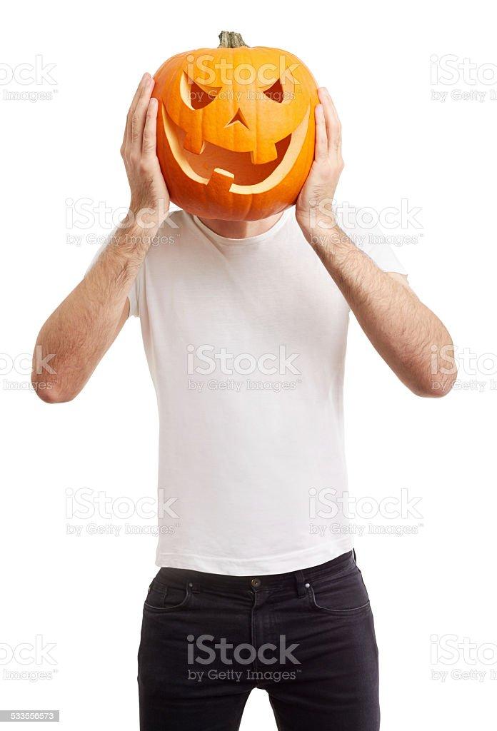 Halloween pumpkin on man head on white stock photo