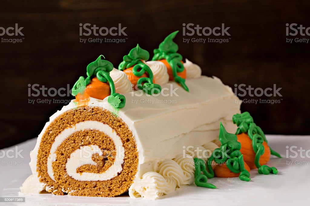 Halloween Pumpkin Roll Dessert stock photo