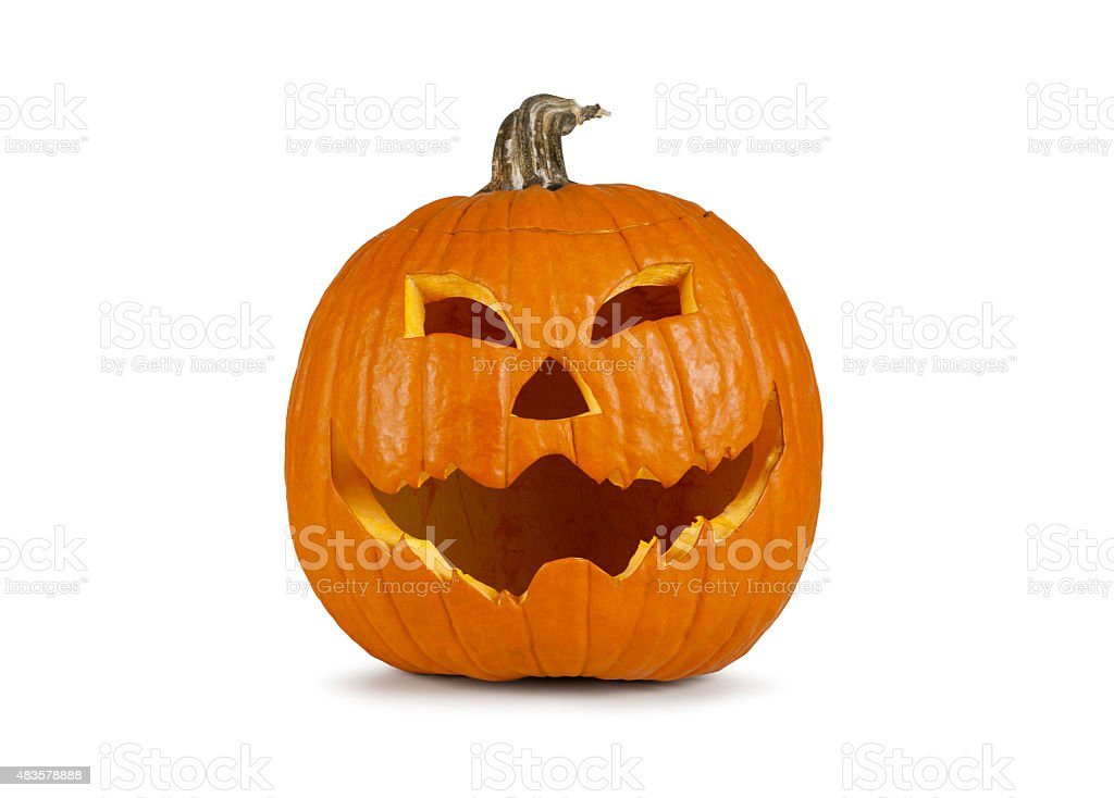 Halloween pumpkin with a grinny face stock photo