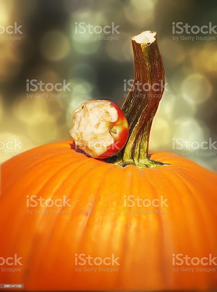 Halloween Pumpkin With Apple Core Bokeh stock photo