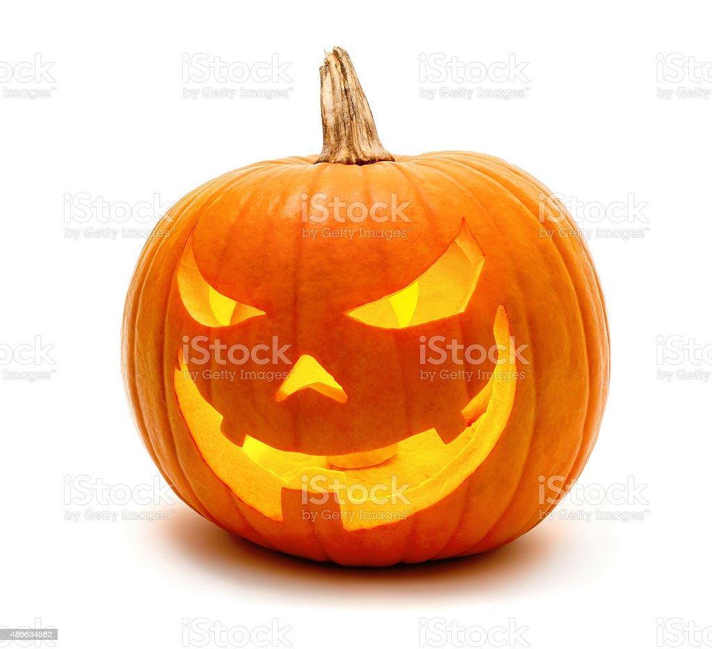 Halloween pumpkin with evil grin stock photo