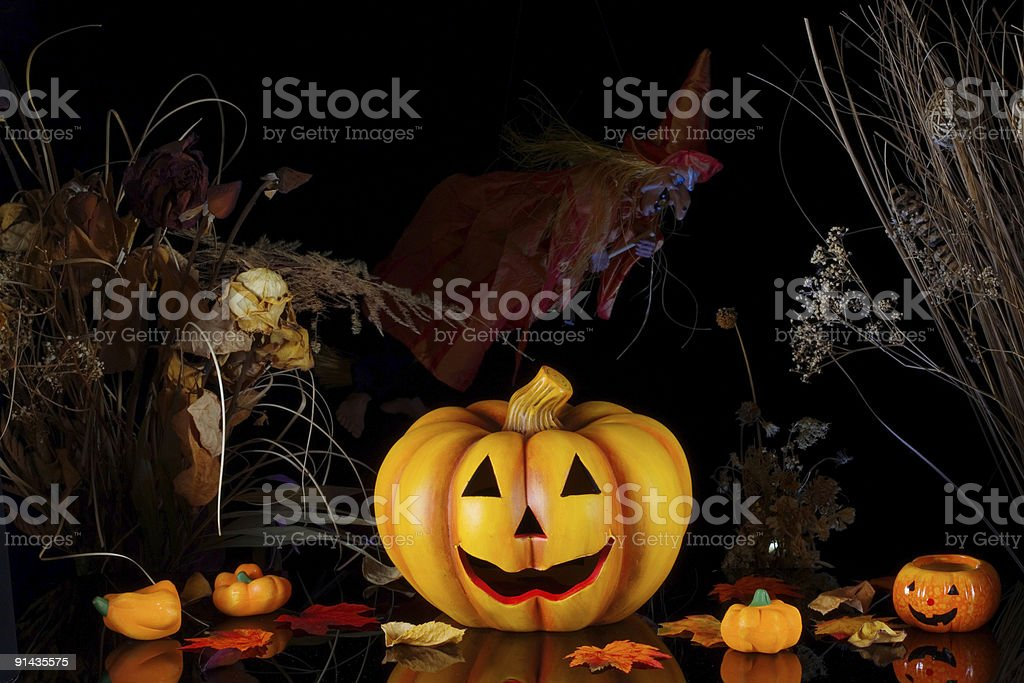 Halloween pumpkin with witch. royalty-free stock photo