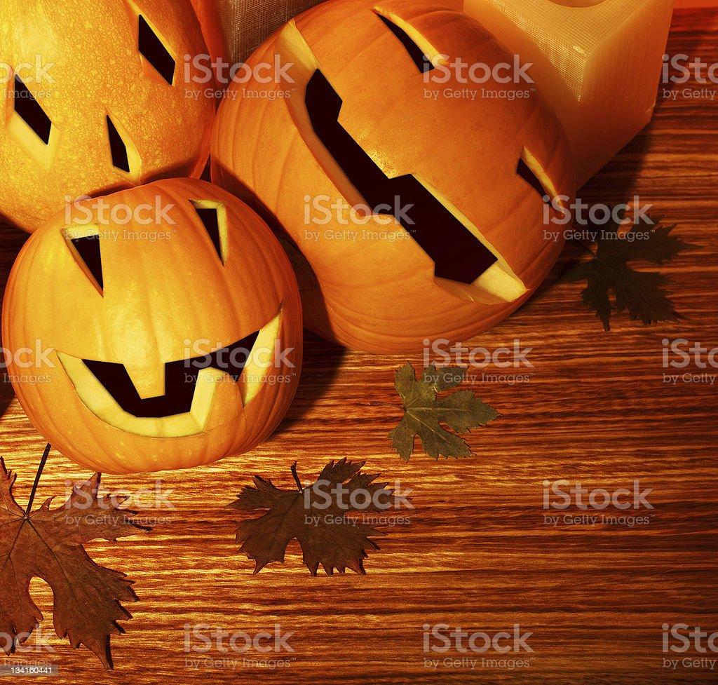 Halloween pumpkins border royalty-free stock photo