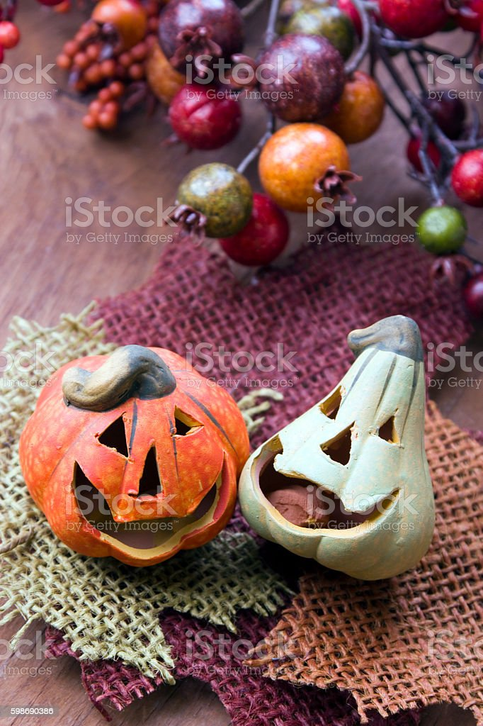 Halloween pumpkins decor stock photo