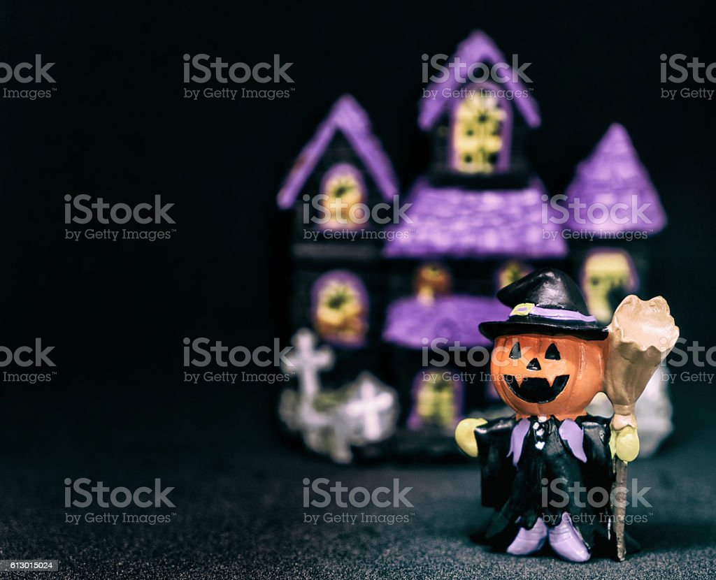 halloween Pumpkins ghost house with black copy space stock photo