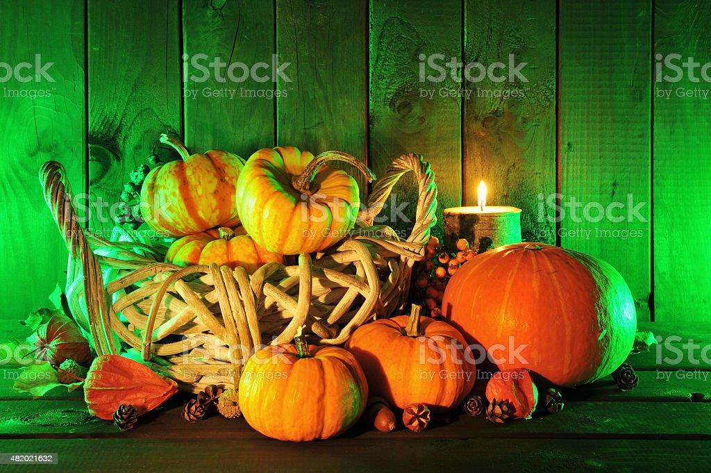 Halloween pumpkins in green light stock photo
