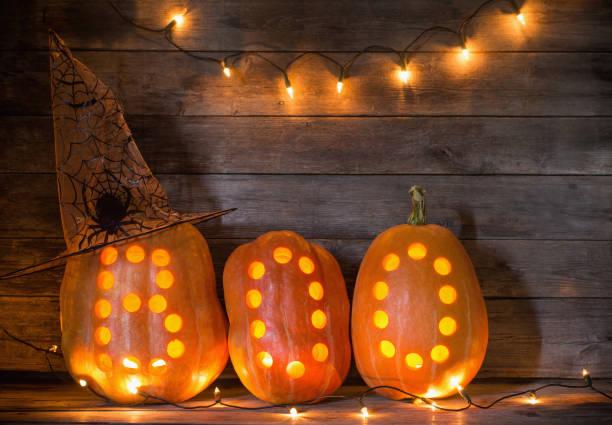 Halloween Pumpkins On Wooden Background Stock Photo
