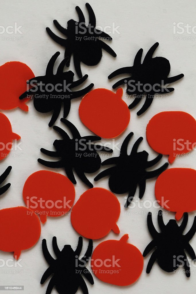 Halloween Pumpkins Spiders Confetti royalty-free stock photo