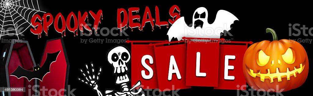 halloween sale deals web banner stock photo