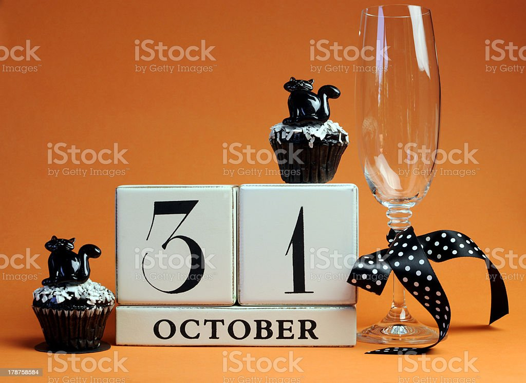 Halloween save the date white block calendar for October 31. stock photo