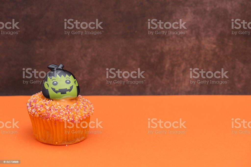 Halloween scary Frankenstein cupcake stock photo