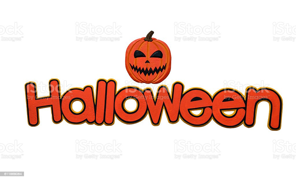 'Halloween' single word isolated on a white background. stock photo