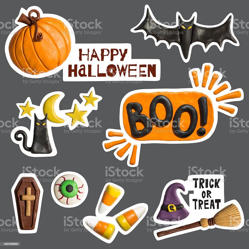 Halloween stickers holiday objects handmade of plasticine. stock photo