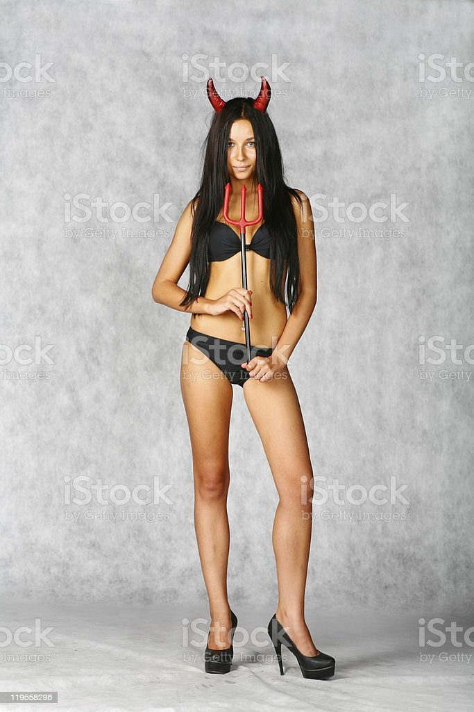 halloween style - portrait of sexy brunette royalty-free stock photo