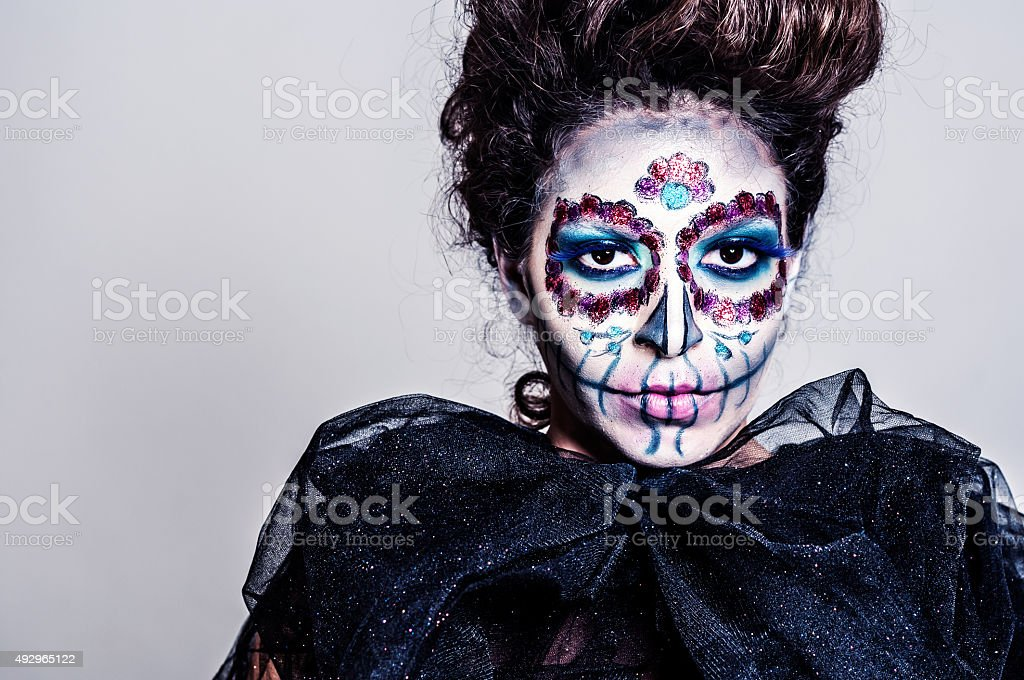 Halloween Sugar skull creative make up stock photo