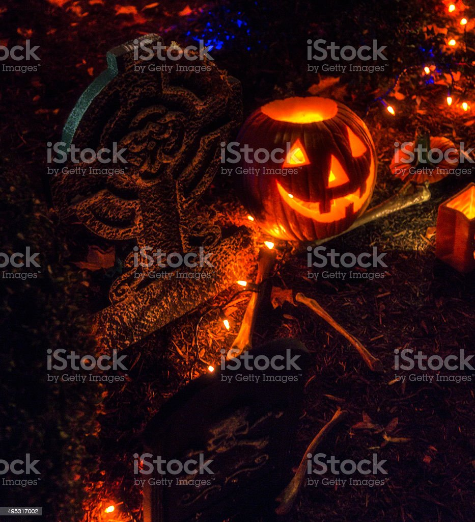 Halloween Tombstone Cemetery Jack O'Lantern Pumpkin stock photo